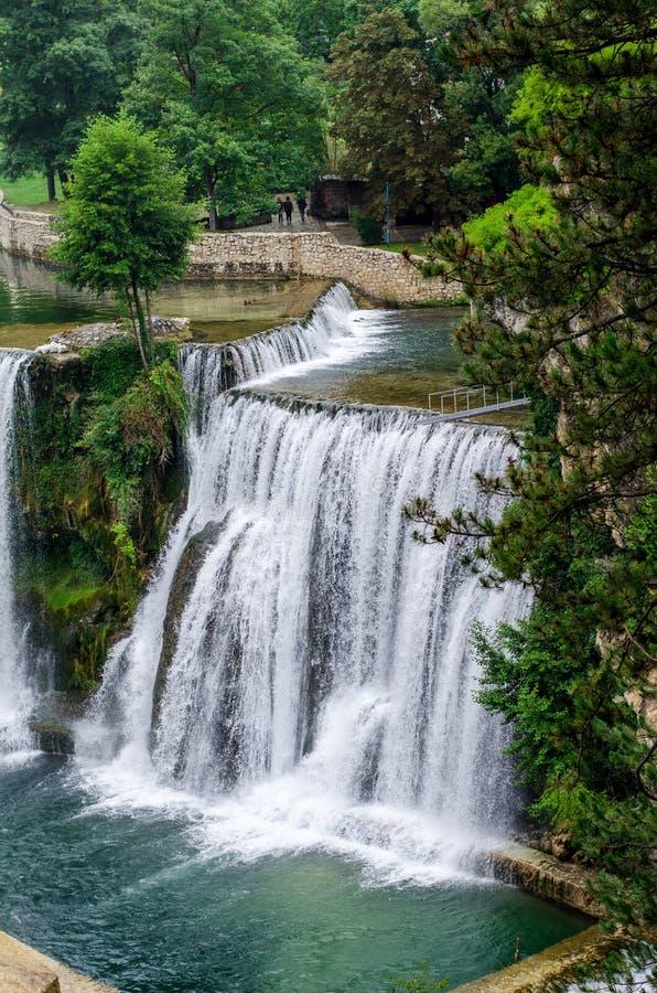 Pliva waterfalls in town Jajce stock photography