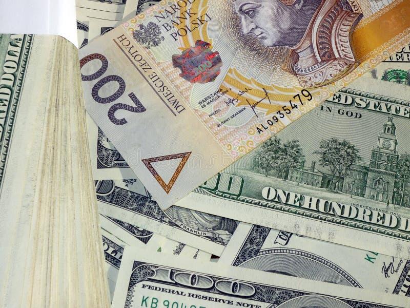 Pln d'USD d'argent photographie stock