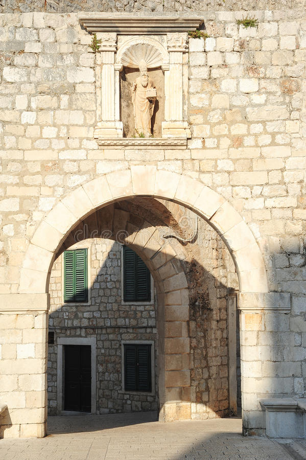 Plocedeur bij de citadel van Dubrovnik royalty-vrije stock afbeelding