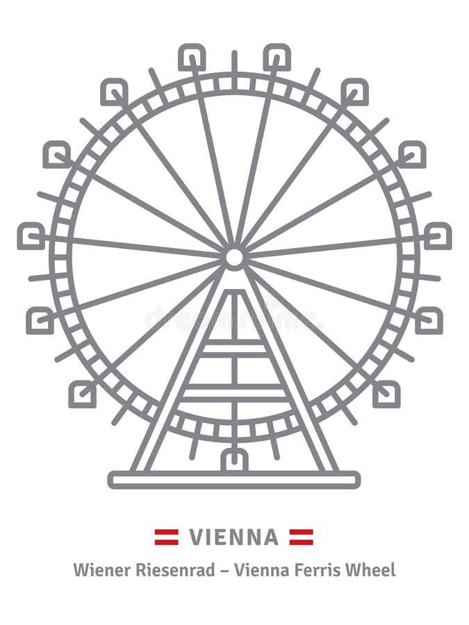 Plociucha Ferris koło przy Wiedeń ikoną royalty ilustracja
