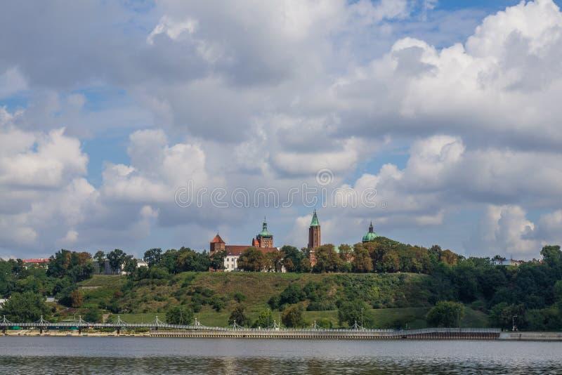 Plock, Ansicht über Kathedralenhügel, Polen lizenzfreies stockbild