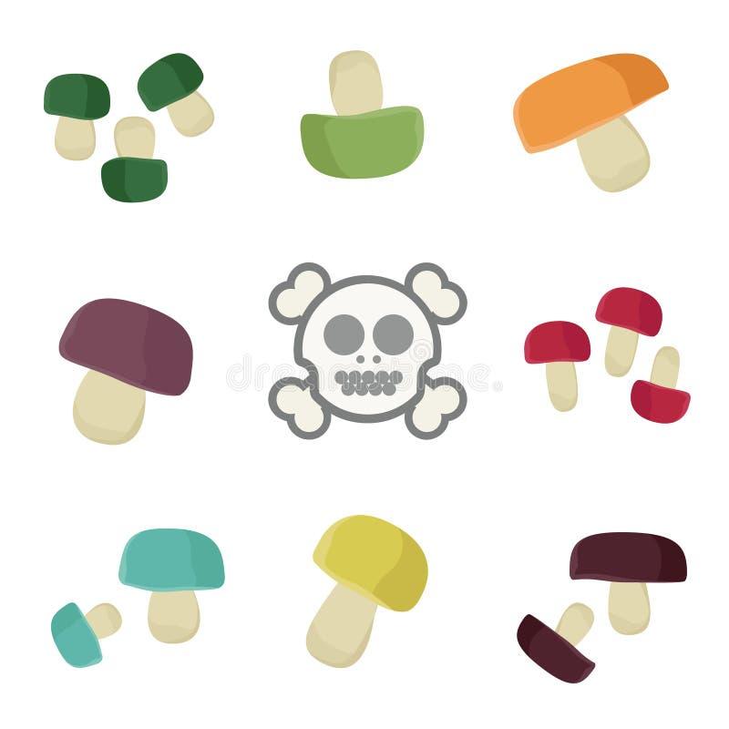 plocka svamp giftigt vektor illustrationer