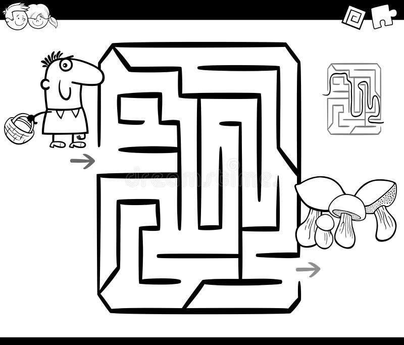 Plocka svamp labyrintfärgläggningsidan stock illustrationer