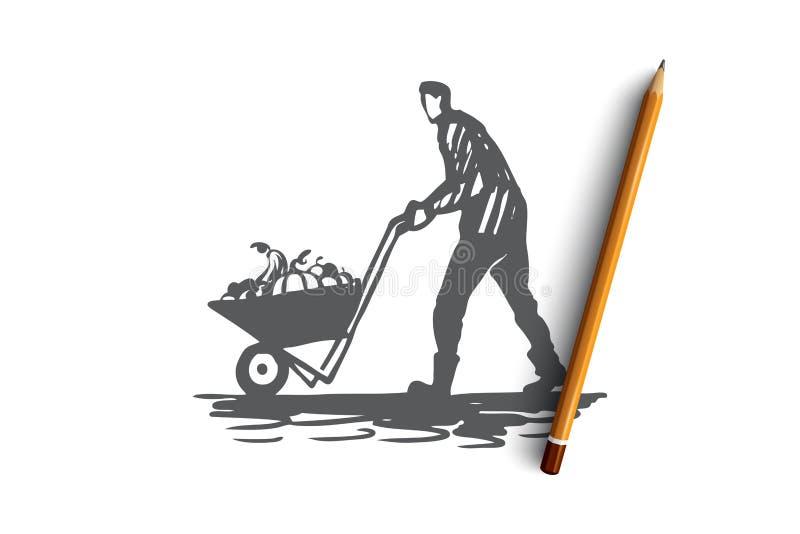 Plockning bonde, höst, lantligt begrepp Hand dragen isolerad vektor vektor illustrationer