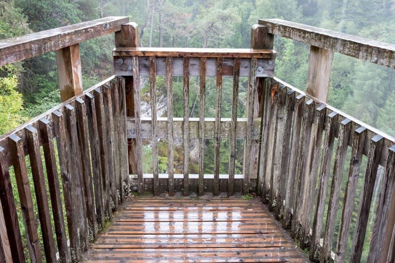 Plodda Falls, Glen Affric Nature Reserve, Central Highlands, Scotland. Renovated Victorian viewing platform overlooking waterfalls. Plodda Falls near Tomich royalty free stock photos