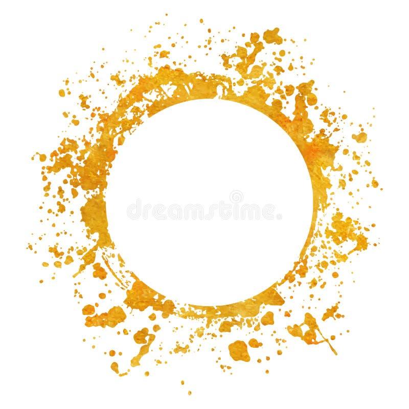 Ploeter gouden ronde kaderverven als achtergrond die met gouden plons op wit worden geplaatst royalty-vrije illustratie