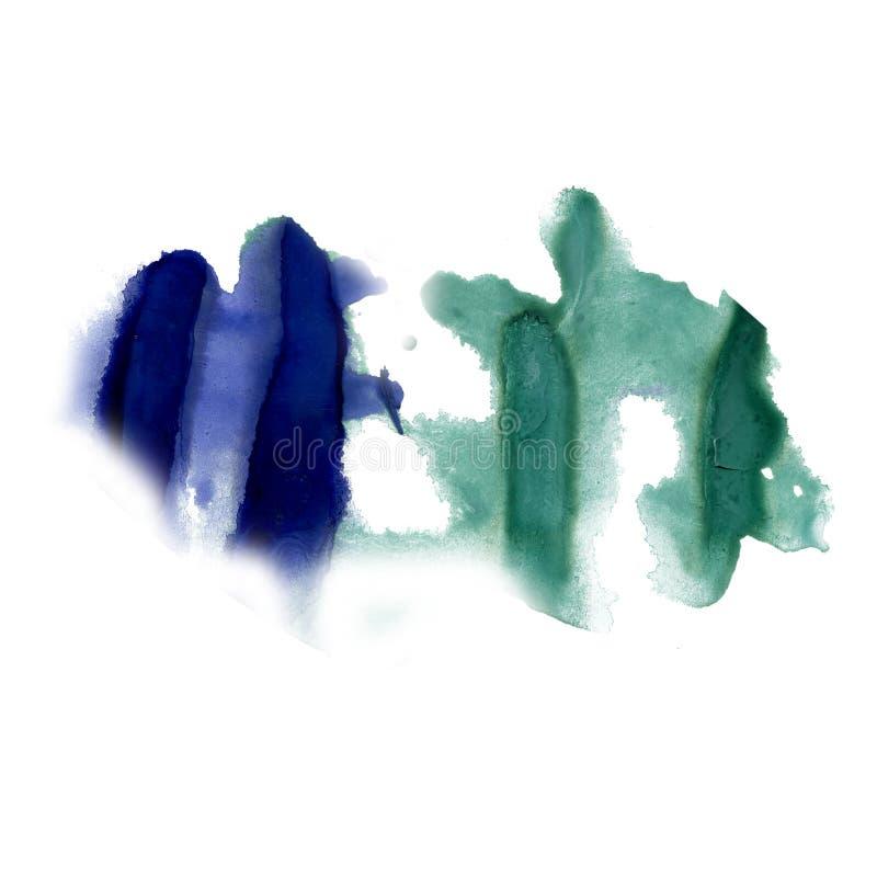 Ploeter van de de kleurstof vloeibare waterverf van inkt de blauwgroene watercolour textuur van de de vlekvlek macrodie op witte  stock afbeelding