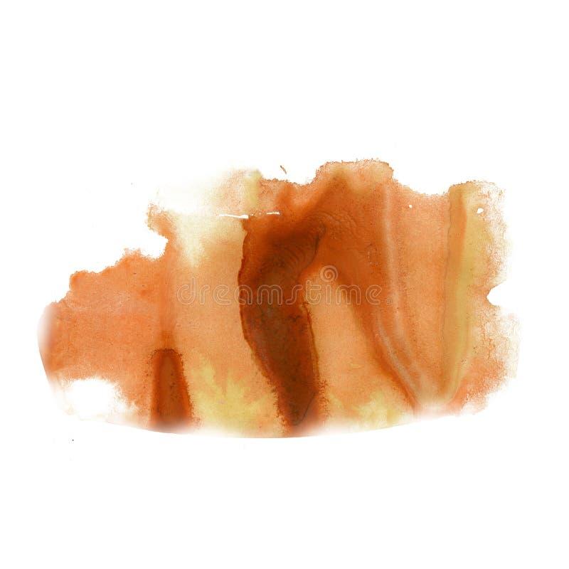 Ploeter van de de waterverf macrodievlek van de inkt watercolour gele bruine kleurstof vloeibare de vlekkentextuur op witte achte stock afbeelding