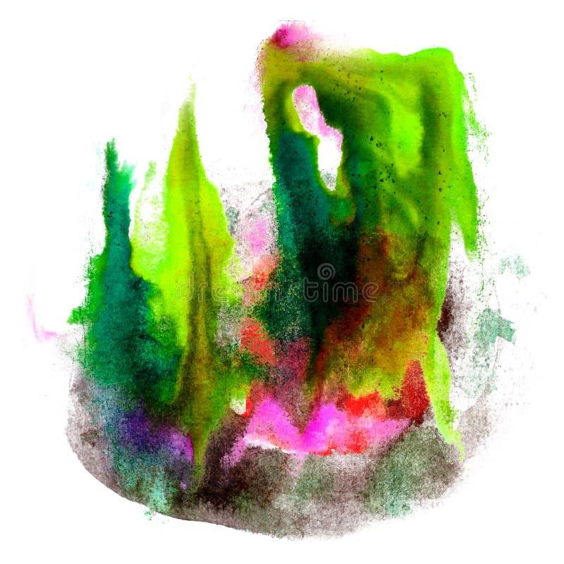 Ploetert de verf groene, zwarte slag waterverf royalty-vrije illustratie