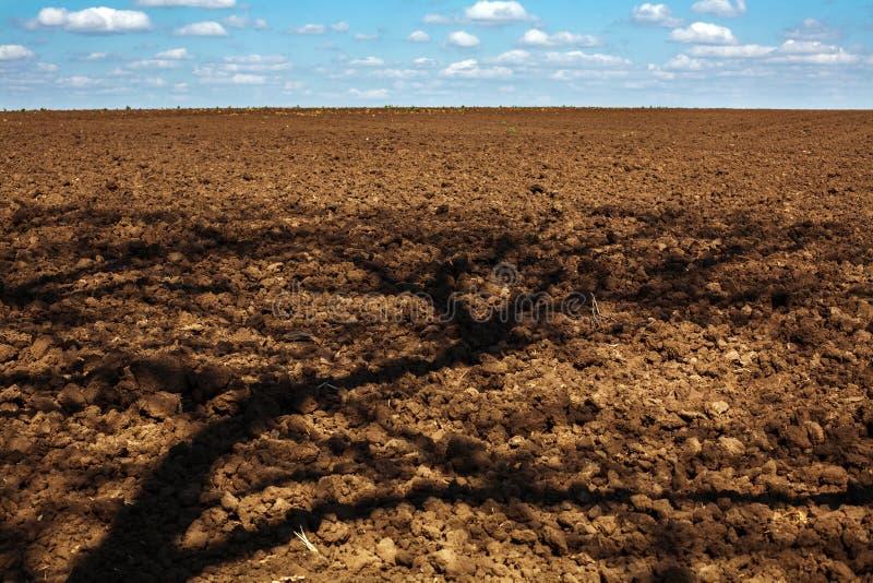 Ploga fältet av jordbruks- land med skugga från träd royaltyfri fotografi