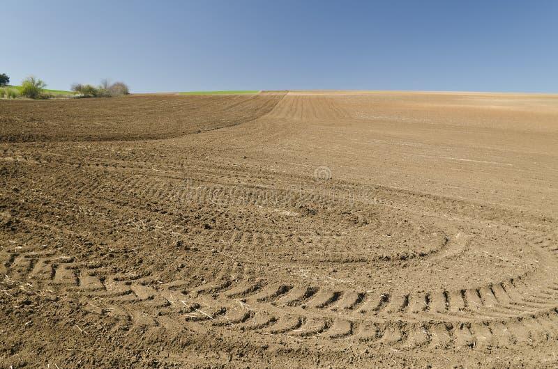 Plogat fält med traktorspår arkivfoto