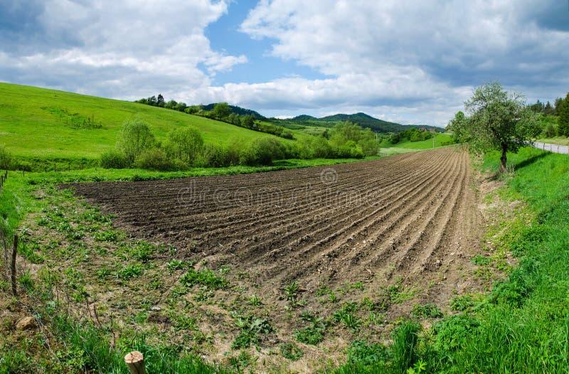 Plogat jordbruks- fält Odlingfält och lantgård i solig dag royaltyfri bild