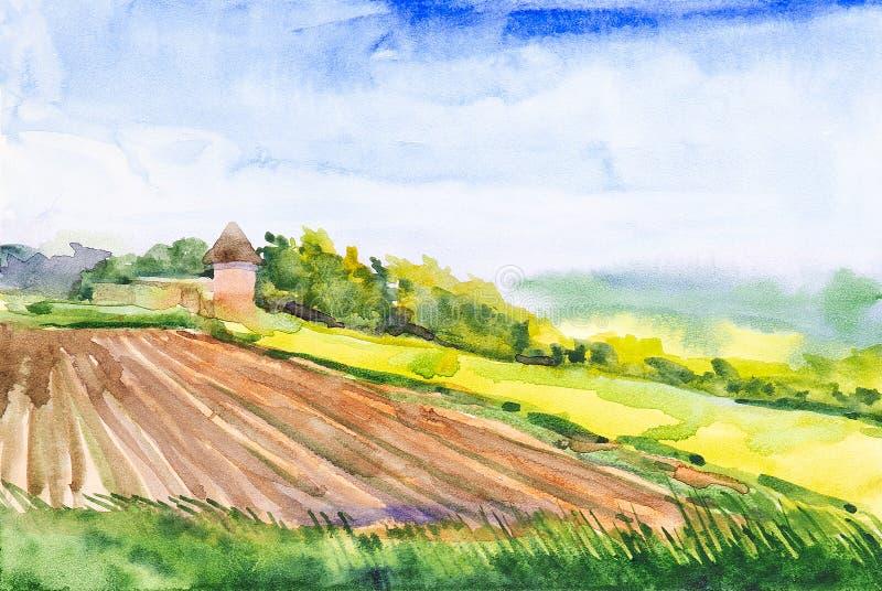 Plogat ryskt fält med skogen och kapellet i bakgrunden och gräset i förgrunden Vattenfärgillustration av ett lantligt royaltyfri illustrationer