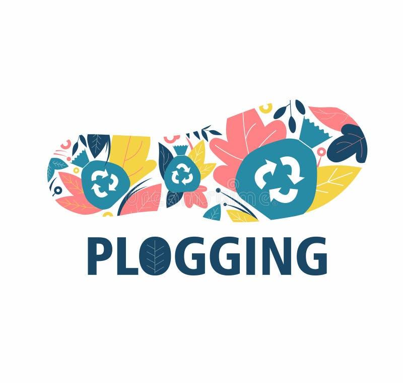 Plogging След ноги ботинка, цветки и символ повторно использовать бесплатная иллюстрация