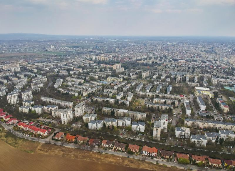 Ploiesti City , Romania, north side cityscape aerial view stock images