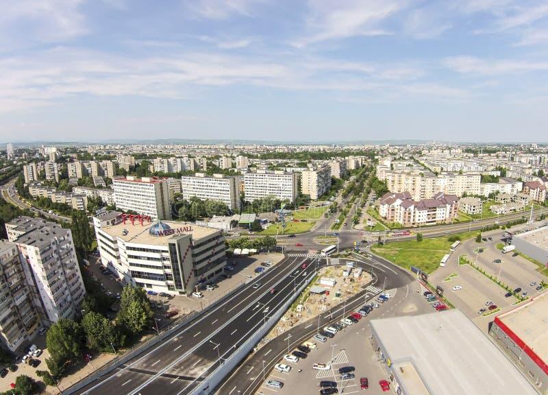 Ploiestistad, Roemenië, luchtmening royalty-vrije stock foto's