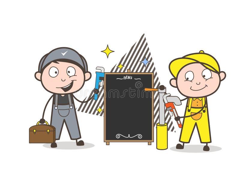 Plombier Boys de bande dessinée et vecteur de bannière d'annonce illustration libre de droits
