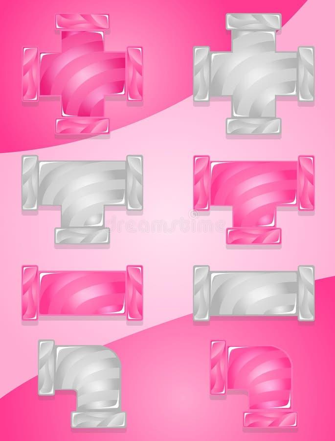 Plombier Color Pink de tuyau et ensemble gris d'ic?ne de sucrerie illustration libre de droits