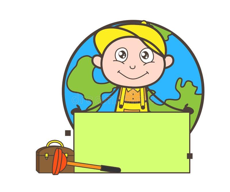Plombier de bande dessinée avec l'illustration de vecteur de bannière d'annonce illustration stock
