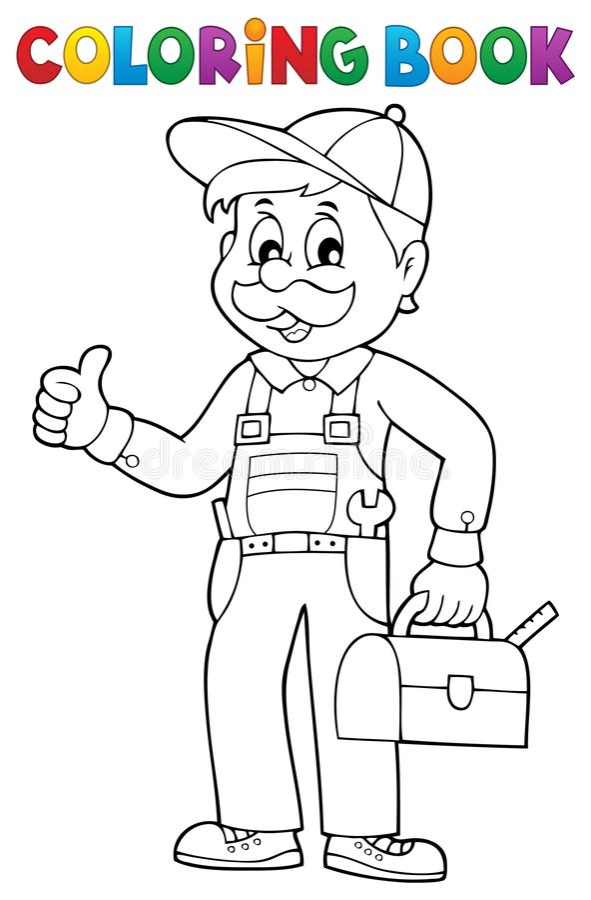 Plombier heureux de livre de coloriage illustration stock