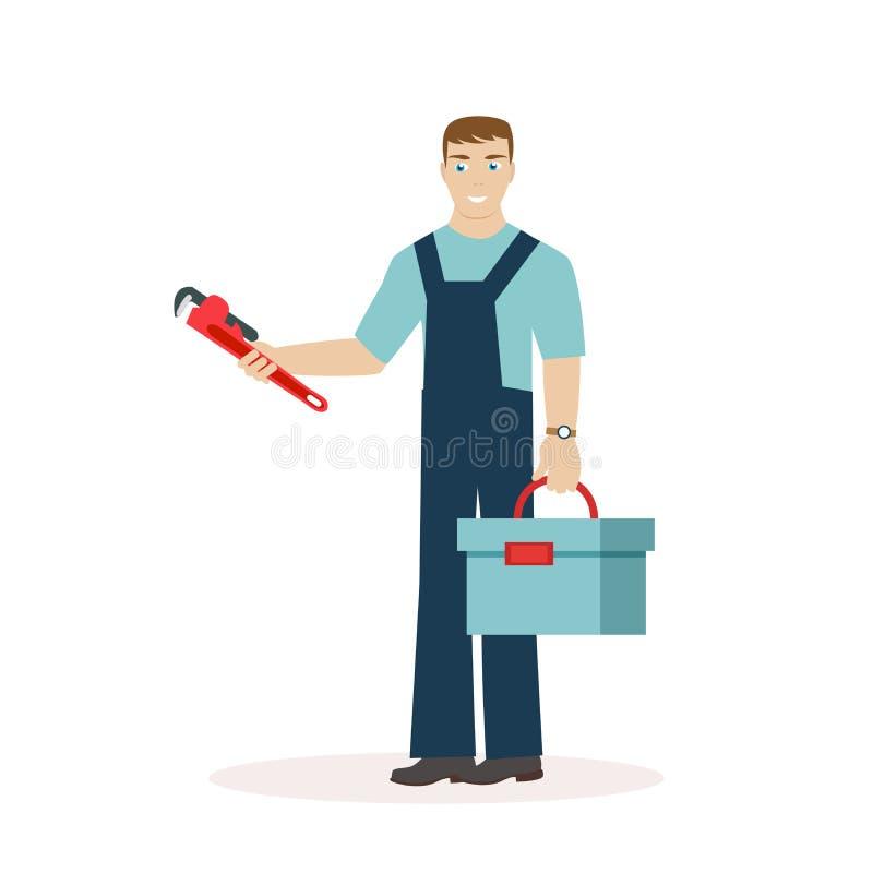 Plombier ou mécanicien avec une clé et une boîte à outils dans des ses mains Homme dans des vêtements de travail Caractère plat d illustration stock
