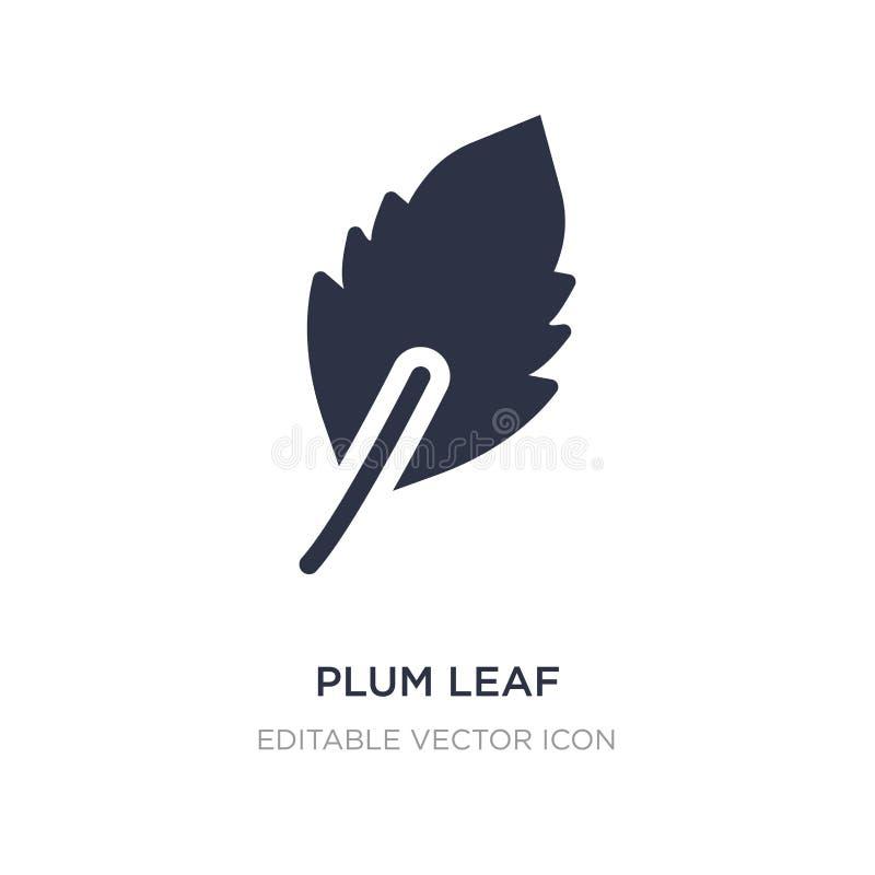 plommonbladsymbol på vit bakgrund Enkel beståndsdelillustration från naturbegrepp stock illustrationer