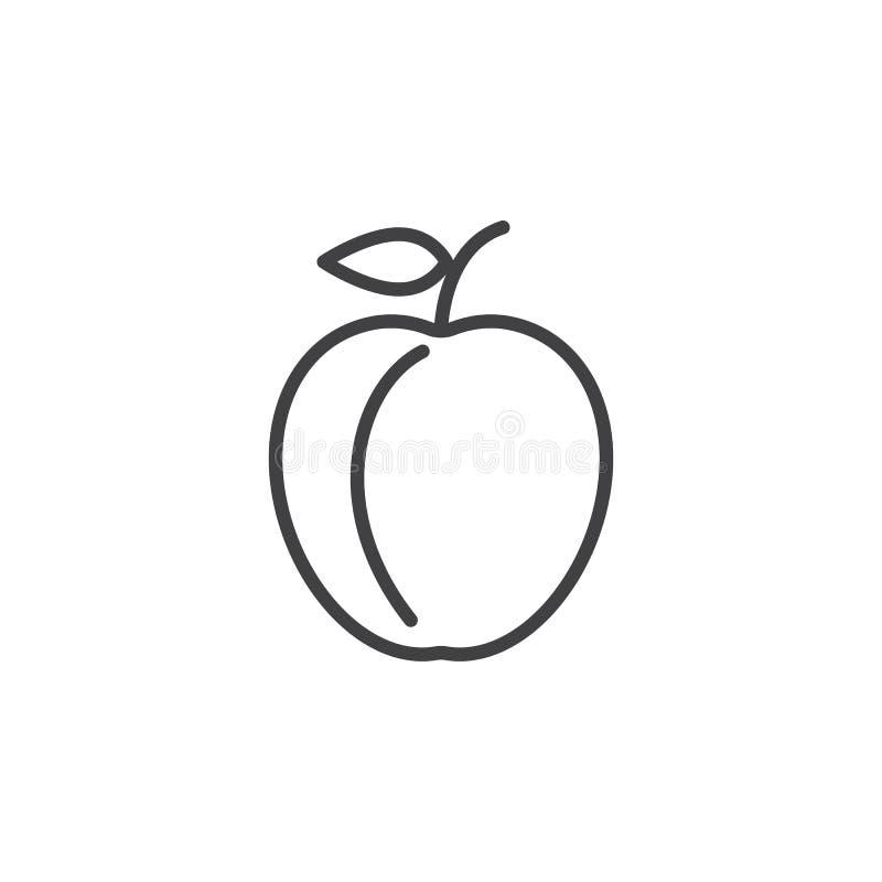 Plommonlinje symbol, översiktsvektortecken, linjär pictogram som isoleras på vit vektor illustrationer