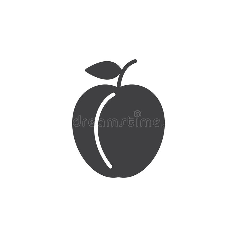 Plommonsymbolsvektor, fyllt plant tecken, fast pictogram som isoleras på vit royaltyfri illustrationer
