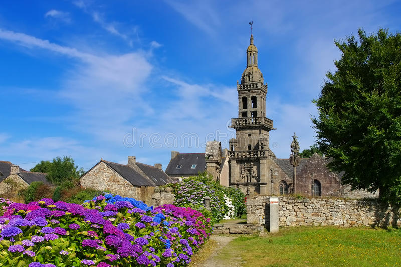 Plomodiern Sainte-Marie du Menez Hom in Brittany. France stock photos