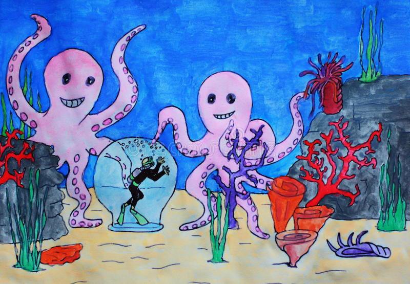 plongée à l'air d'aquarium image libre de droits