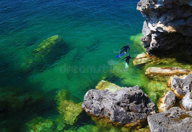 Plongée à l'air dans le compartiment géorgien à la péninsule de Bruce photographie stock libre de droits