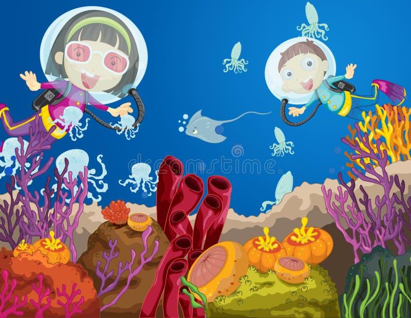 Plongée d'enfants illustration libre de droits