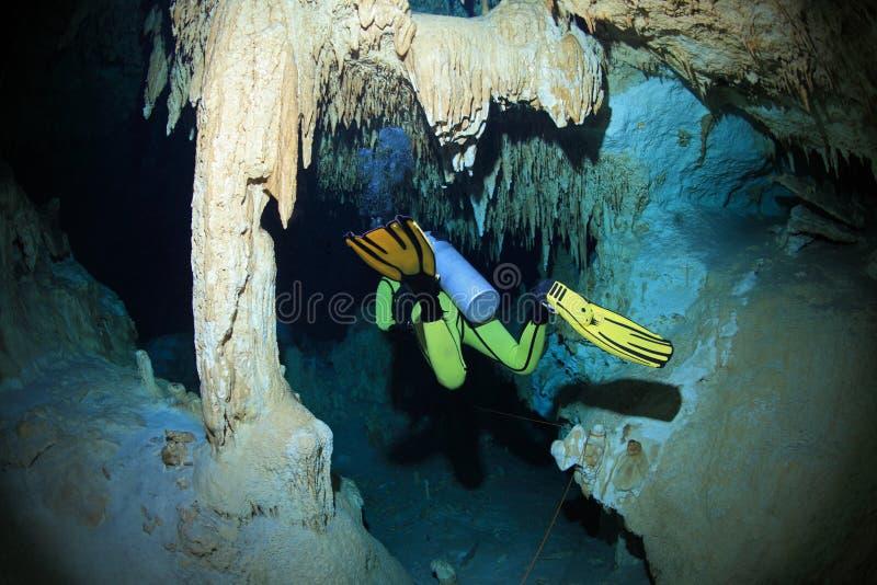 Plongée de caverne dans la caverne sous-marine de cenote photos libres de droits