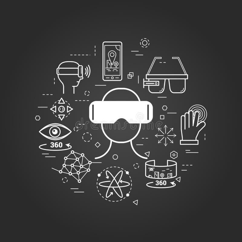 Plongée de VR - schéma sur le noir illustration stock