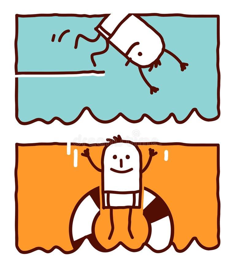 Plongée et brancher dans l'eau illustration de vecteur