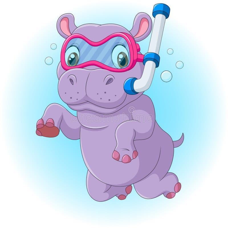 Plongée mignonne d'hippopotame illustration stock