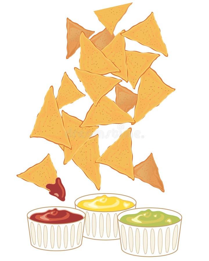 plonge des nachos illustration libre de droits
