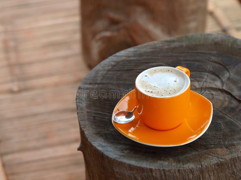 Plonge le café de cappuccino avec de la crème fine blanche de bulle image stock