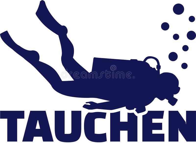 Plongeur autonome avec le mot allemand illustration de vecteur