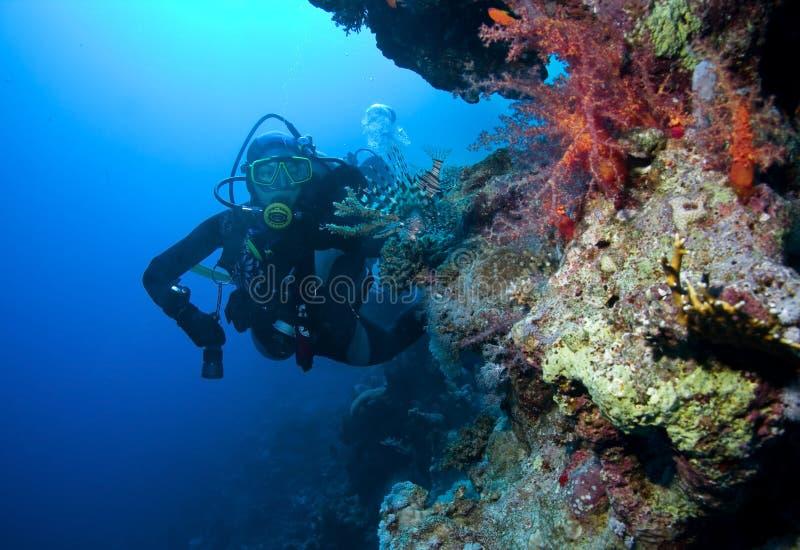 Plongeur autonome de femme photographie stock libre de droits