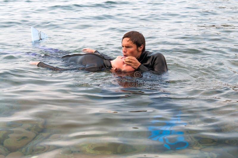 Délivrance de plongeur photographie stock libre de droits