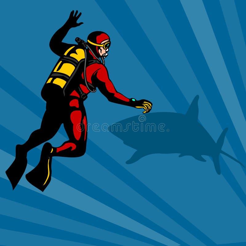 Plongeur autonome et un requin illustration stock