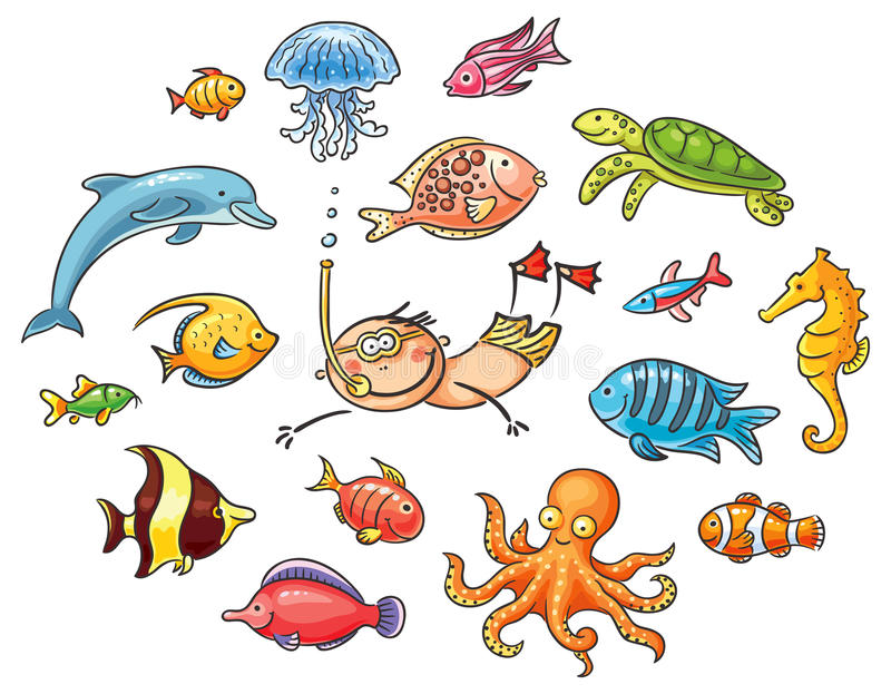 Plongeur avec un ensemble d'animaux de mer illustration stock