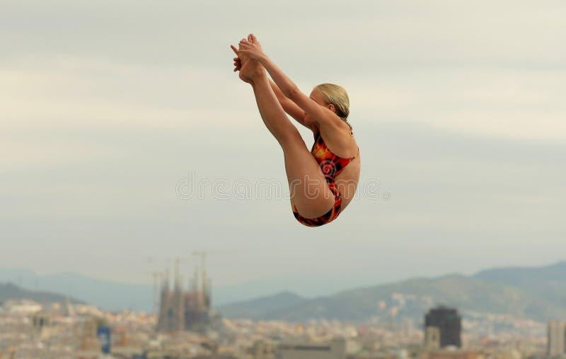 Plongeur dans BarcelonaCompetition photos stock