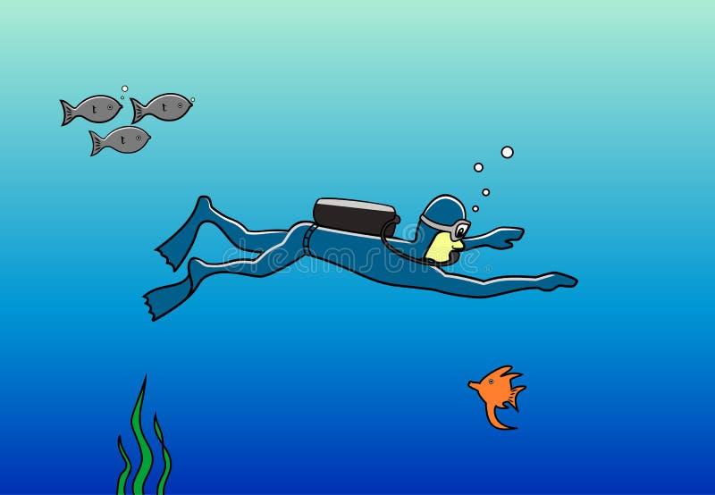 Plongeur dans l'océan illustration stock