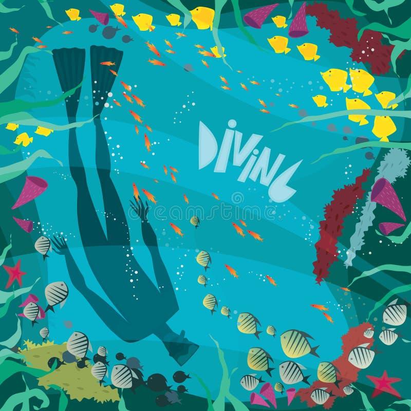 Plongeur dans un récif coralien illustration stock