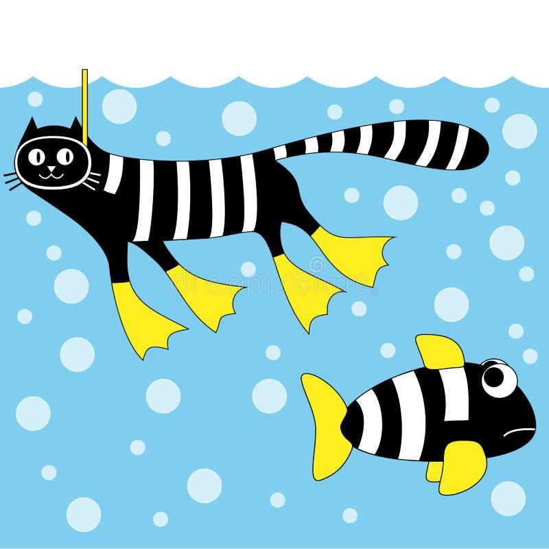 Plongeur de chat image stock
