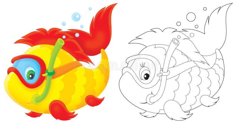 Plongeur de poissons illustration stock