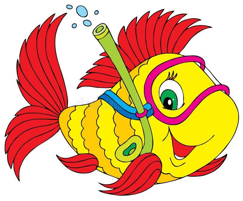 Plongeur de poissons illustration de vecteur