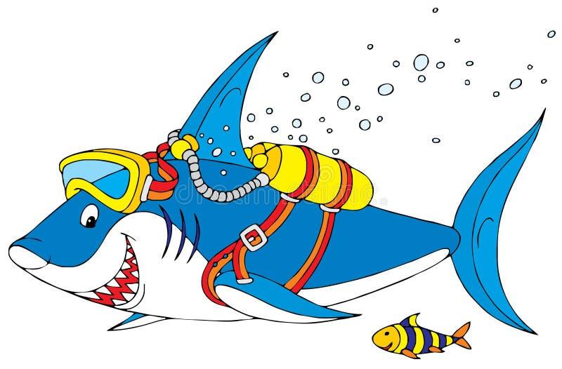 Plongeur de requin illustration libre de droits